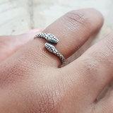 Ring van zilver slang