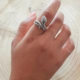 Zilveren ring met slang