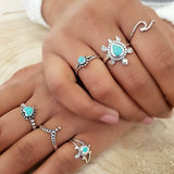 Zilveren ring met turquoise hartje en stippelrandje_
