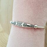 Zilveren armband met boho flowers_