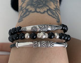 Black onyx armband met zilver_