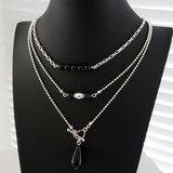 Black onyx ketting met zilveren kralen_