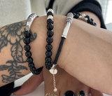 Zwarte leren armband met zilver_