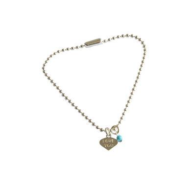 Zilveren balletjesarmband met bedel en turquoise kraal