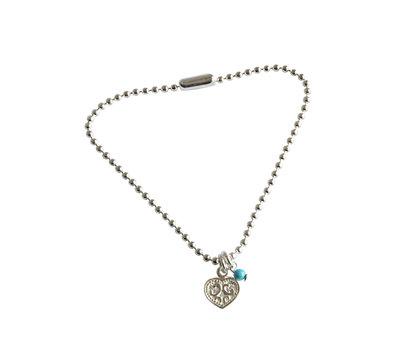 Zilveren balletjesarmband met hartje met bewerking en turquoise kraal