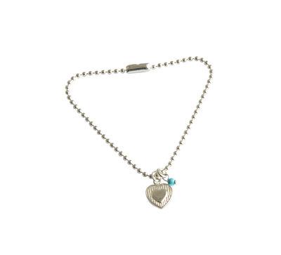 Zilveren balletjesarmband met gestreept hartje en turquoise kraal