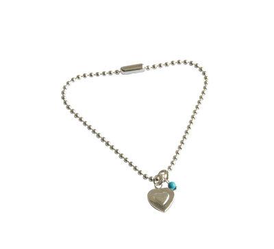 Zilveren balletjesarmband met glad klein hartje en turquoise kraal