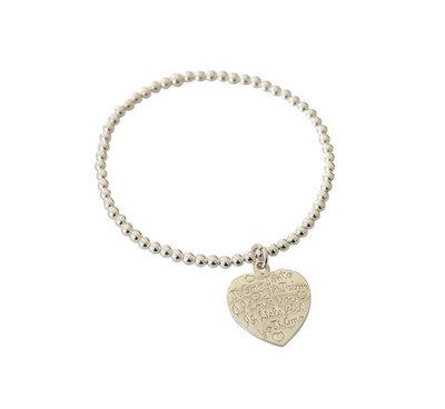 Zilveren armband van elastiek met hart met liefdesteksten