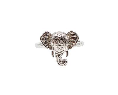 Ring van zilver met een hoofd van een olifant