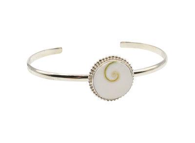Armband van zilver met ronde Shiva Eye Shell