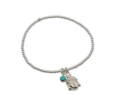 Zilveren armband met boeddha hoofd