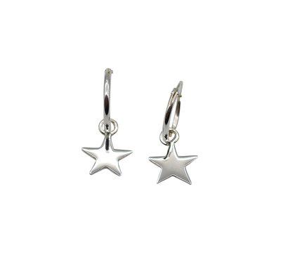 Zilveren oorringetjes met sterren