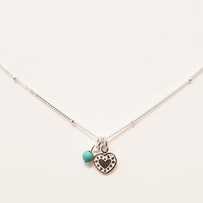 Zilveren ketting met hartje en turquoise kraal
