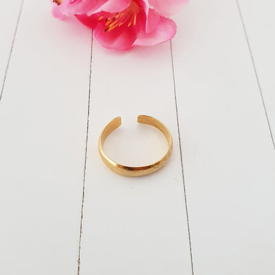 Gladde goldplated teenring