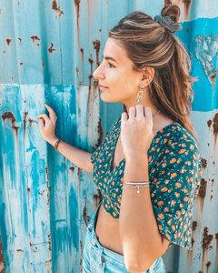 Zilveren elastische armband Bali Bead & Turquoise
