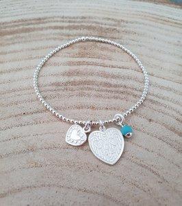 Zilveren armband met 2 hartjes