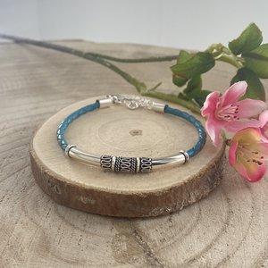 Turquoise leren armband met zilver