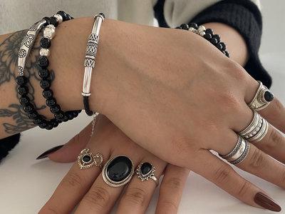 Zwarte leren armband met zilver