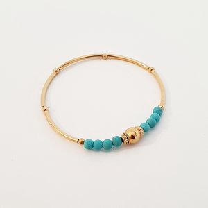 Armband met vergulde en turquoise kralen