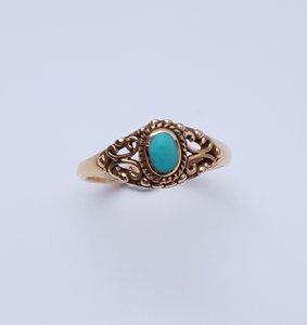 Vergulde ring met klein turquoise steentje