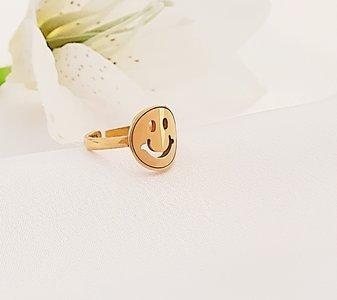 Gouden smily ring