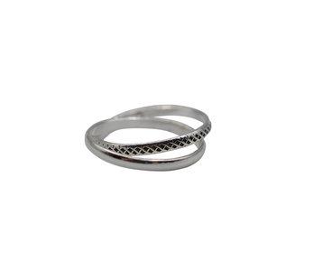 Zilveren dubbele ring edenshop.nl