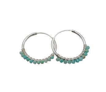 zilveren oorbellen met kraaltjes