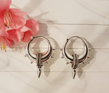 Zilveren oorbellen boho style