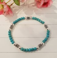 Armband met zilver en turquoise kralen